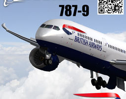Boeing 787-9 British airways livery 3D model animated