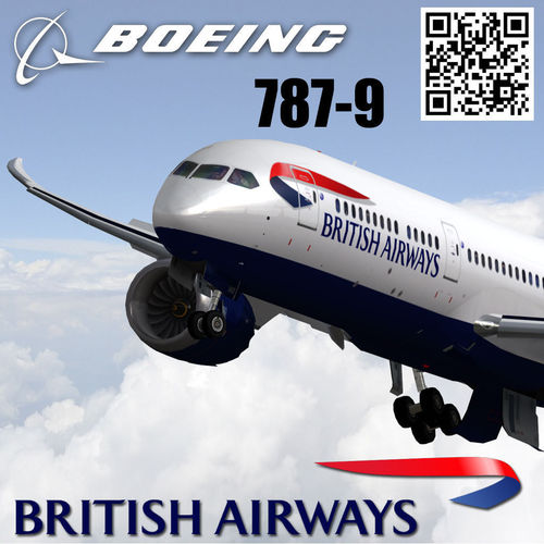 boeing 787-9 british airways livery 3d model low-poly rigged max 3ds fbx 1