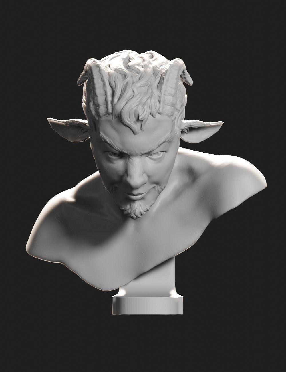 Faun bust sculpture