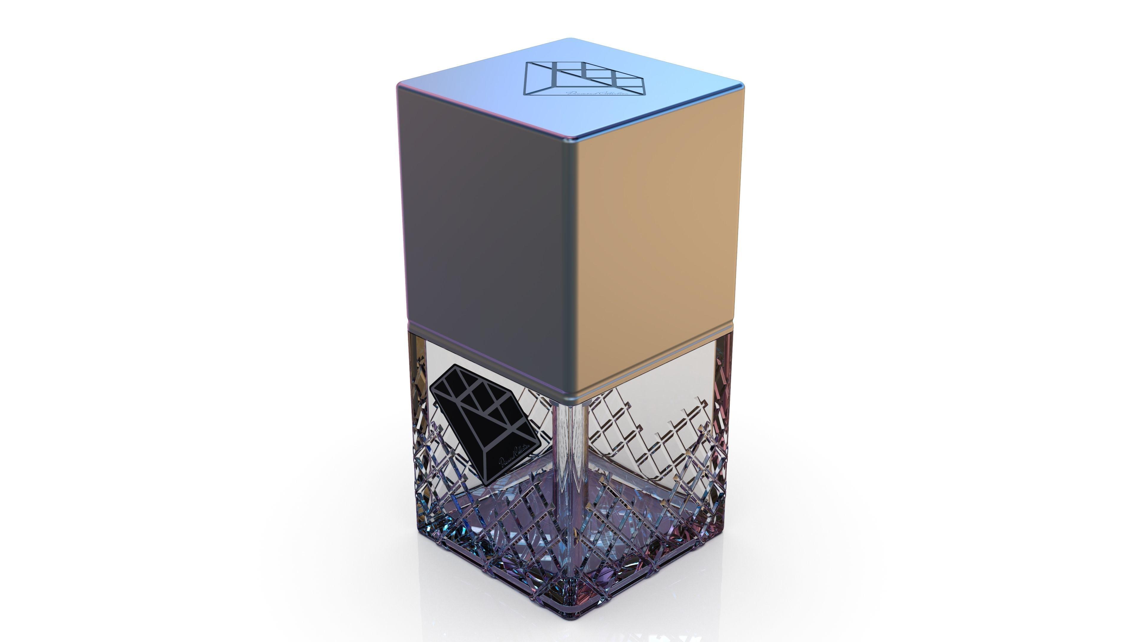 Diamond cosmetics bottle - 42x42 mm - V - 45 mL