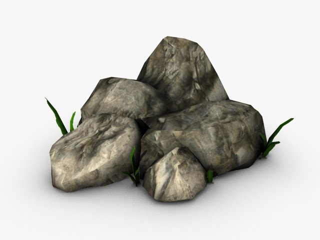 Rocks with small plants3D model