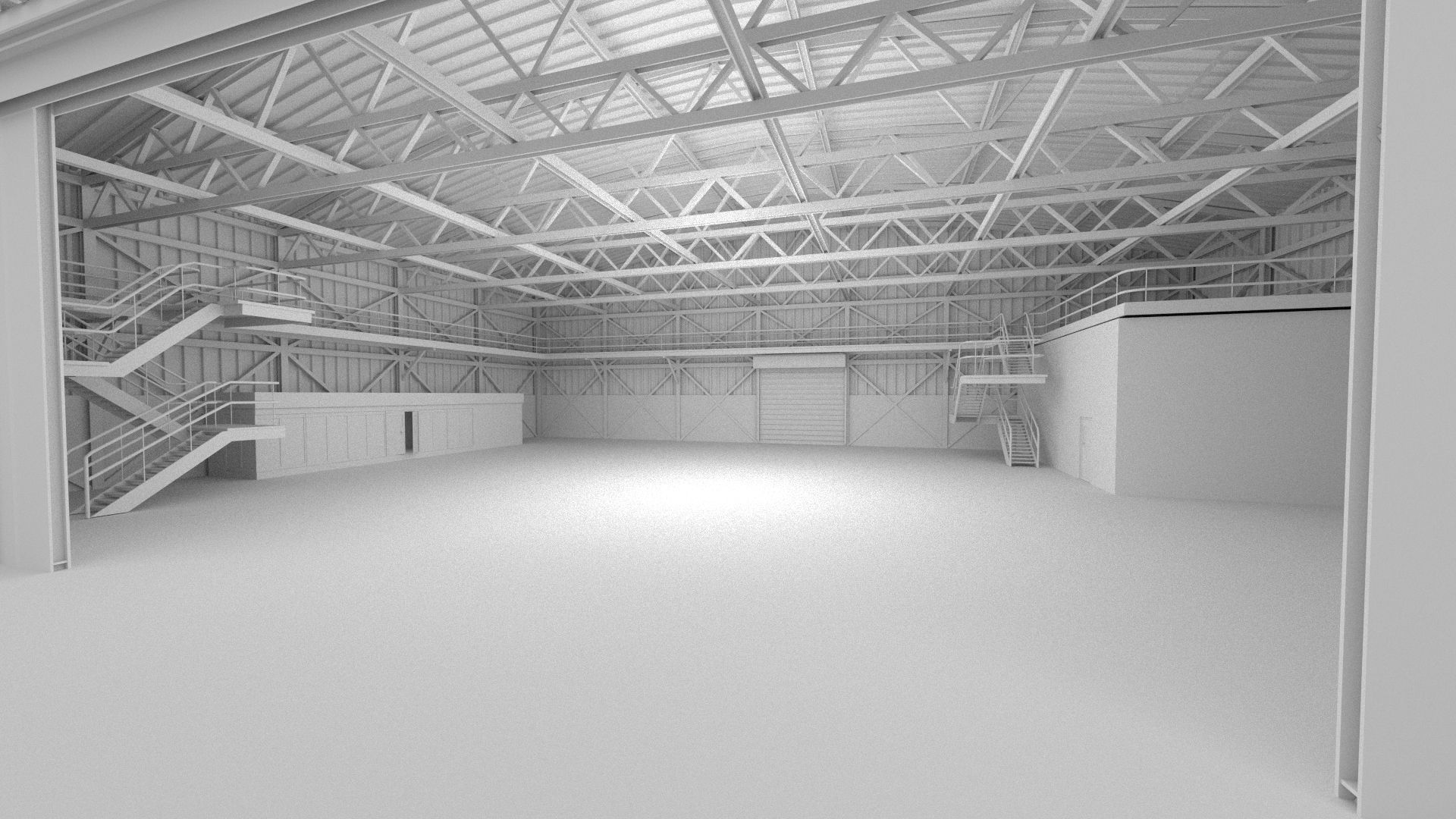 Hangar Scene Free 3d Model Game Ready Obj Fbx Blend
