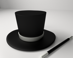 3D Magician Hat And Wand