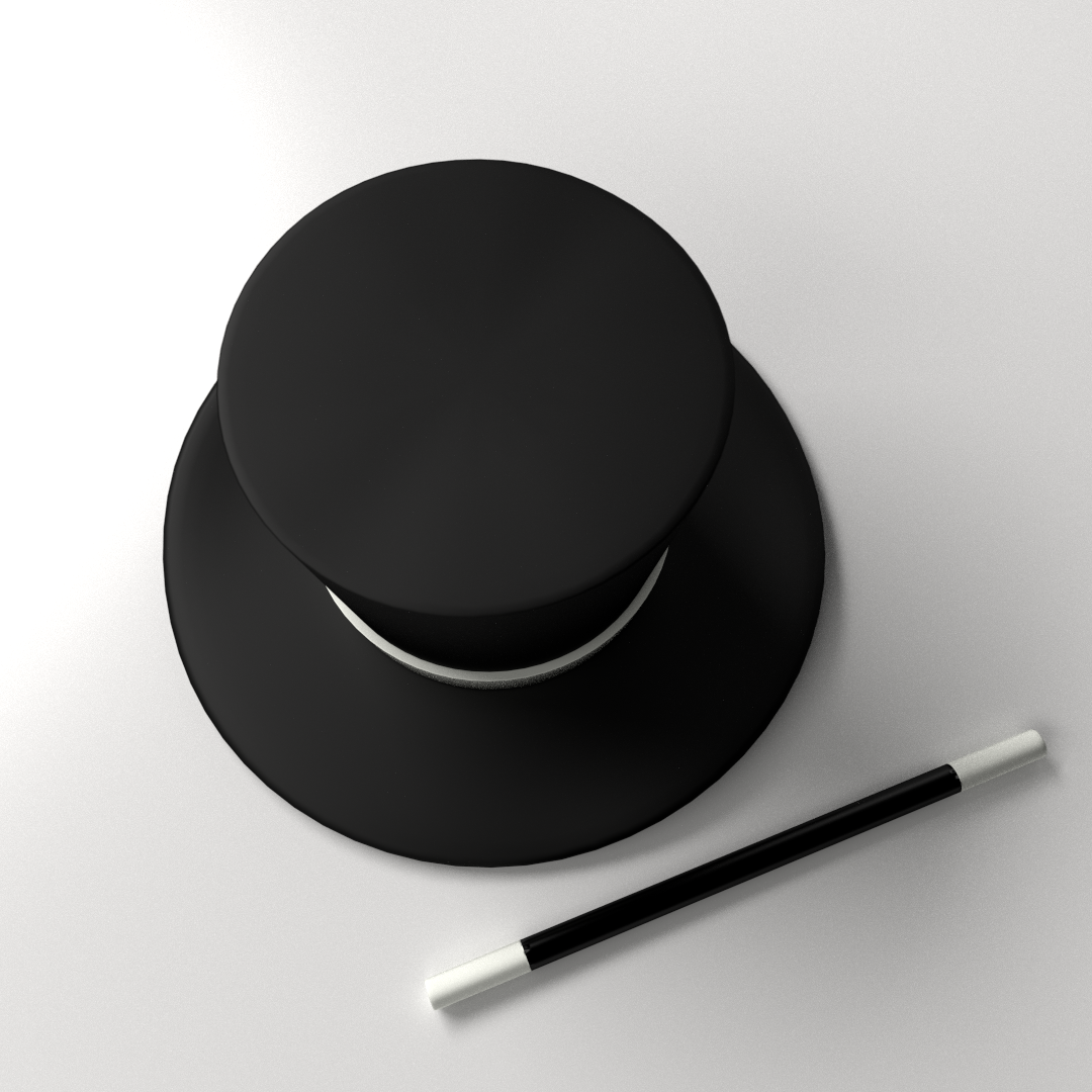 magician hat and wand 3d model 3ds fbx blend dae 696fdcc1 d374 403b be71 69806cd8790c