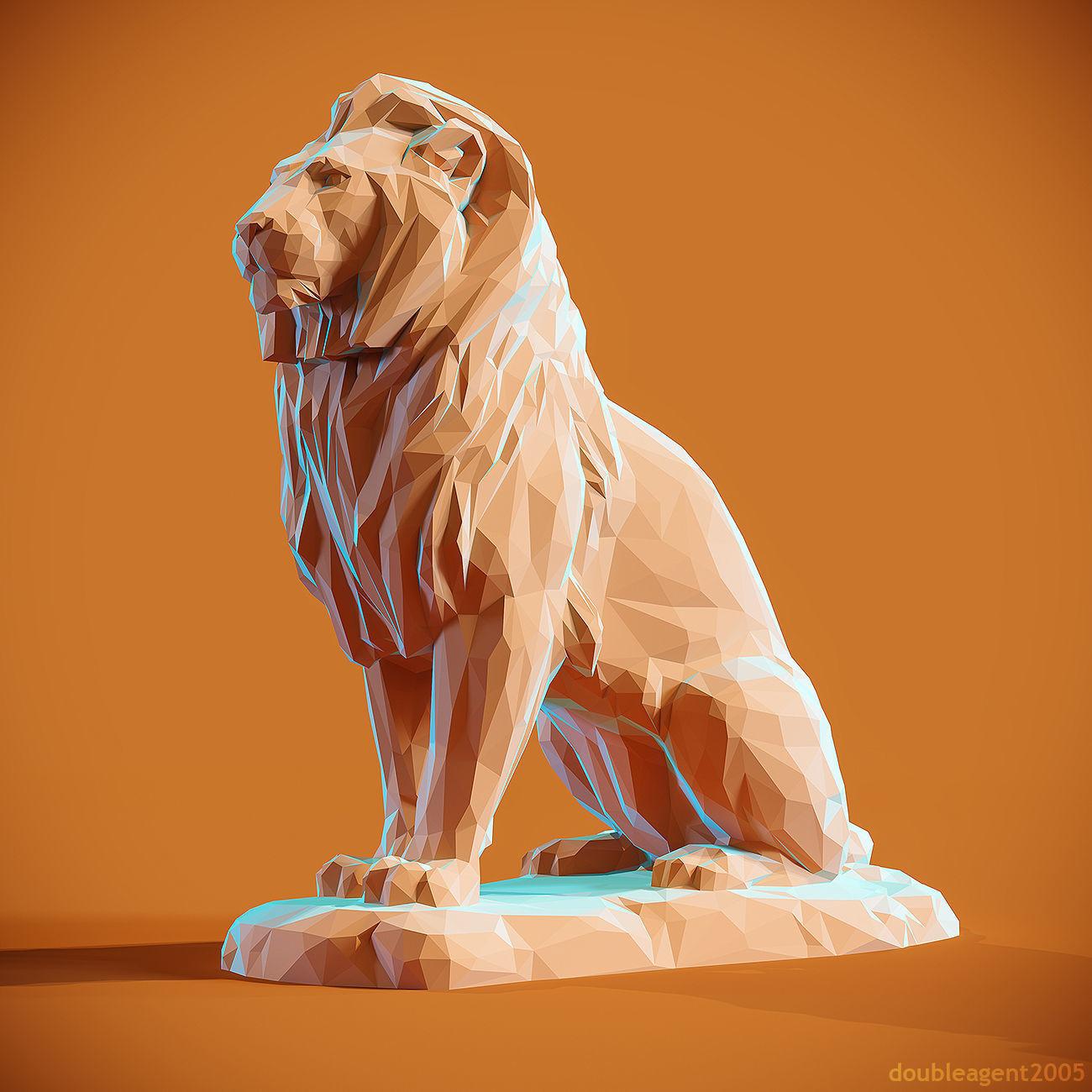Low poly Lion 2 Papercraft