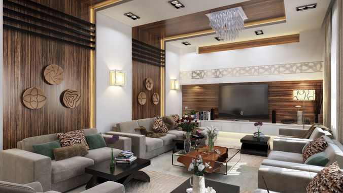 48D Modern L Shape Living Room CGTrader Adorable Living Room Images Free