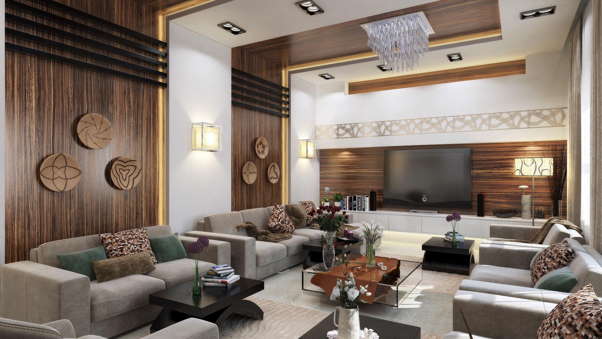 3d modern l shape living room cgtrader - Free 3d room design ...