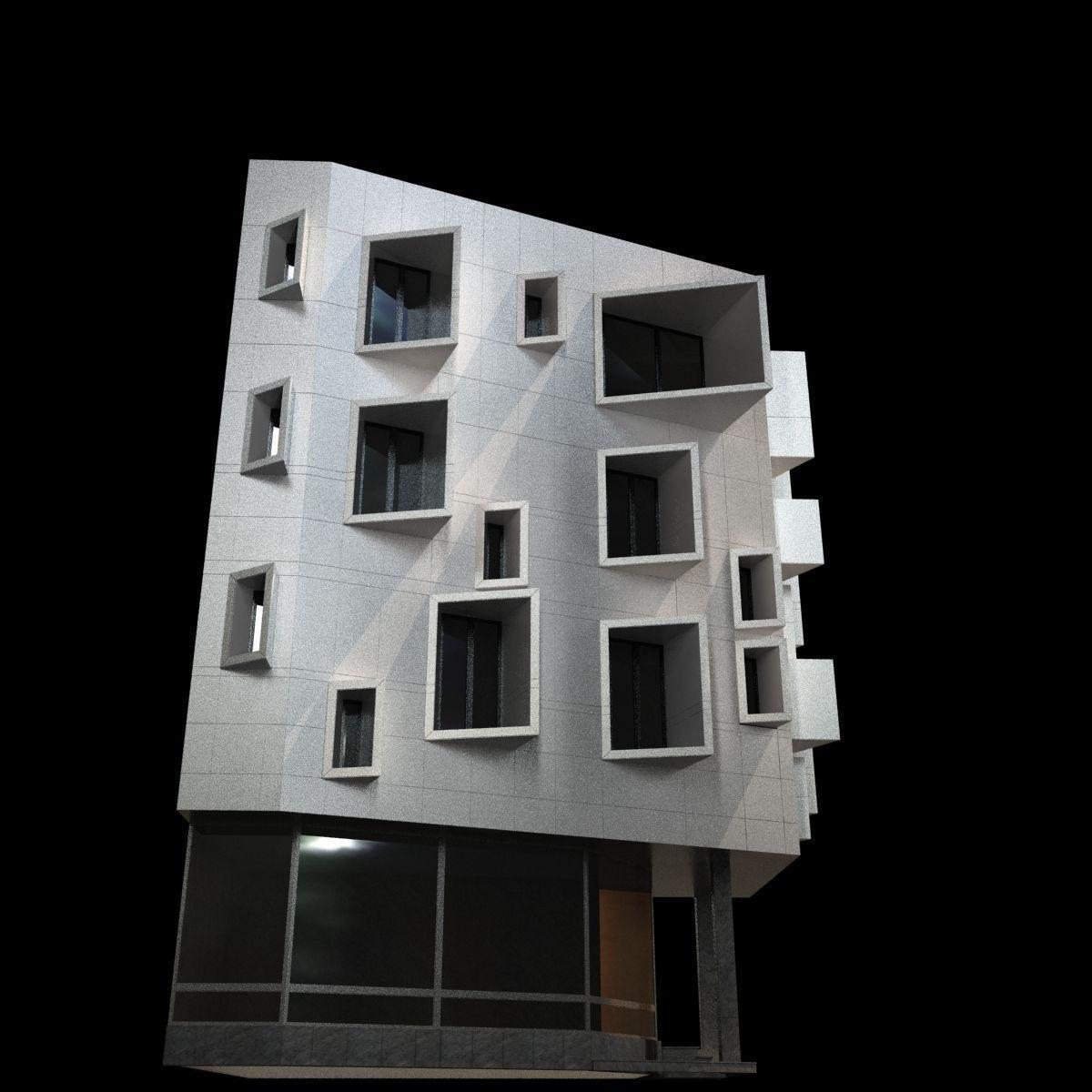 Modern orner Building 3D Model M OBJ 3DS FB ML Grader.com - ^
