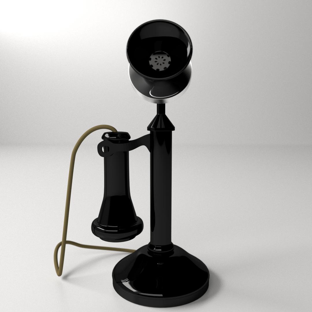 Old Telephone 3d Model  3ds  Fbx  Blend  Dae