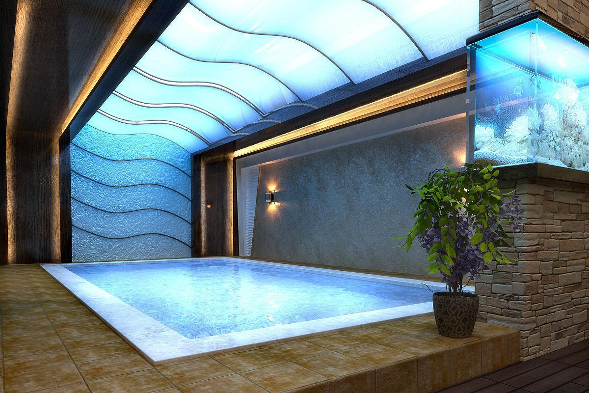 Open E Living Room Billiard Bar Swim Pool Garden Model Max Tga 1