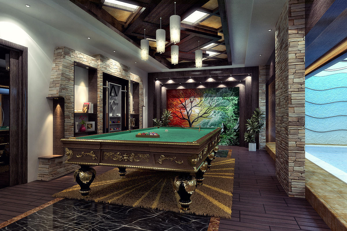 Open space living room billiard room bar s free 3d for Garden pool table room