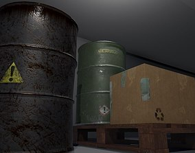 Barrels pallet and box PACK 3D asset