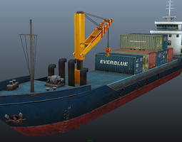 3d model cargo ship - low poly