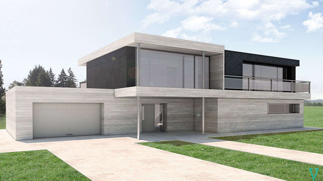 Modern house by vv 3d model 3d printable skp for Contemporary model house