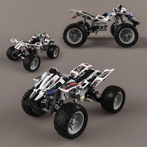lego technic quad bike 3d model cgtrader. Black Bedroom Furniture Sets. Home Design Ideas