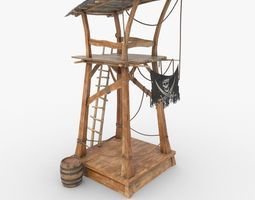 PBR 3d model wooden pirate watch tower realtime