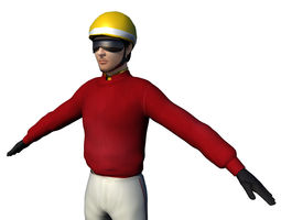 jockey rigged for racing 3d asset game-ready