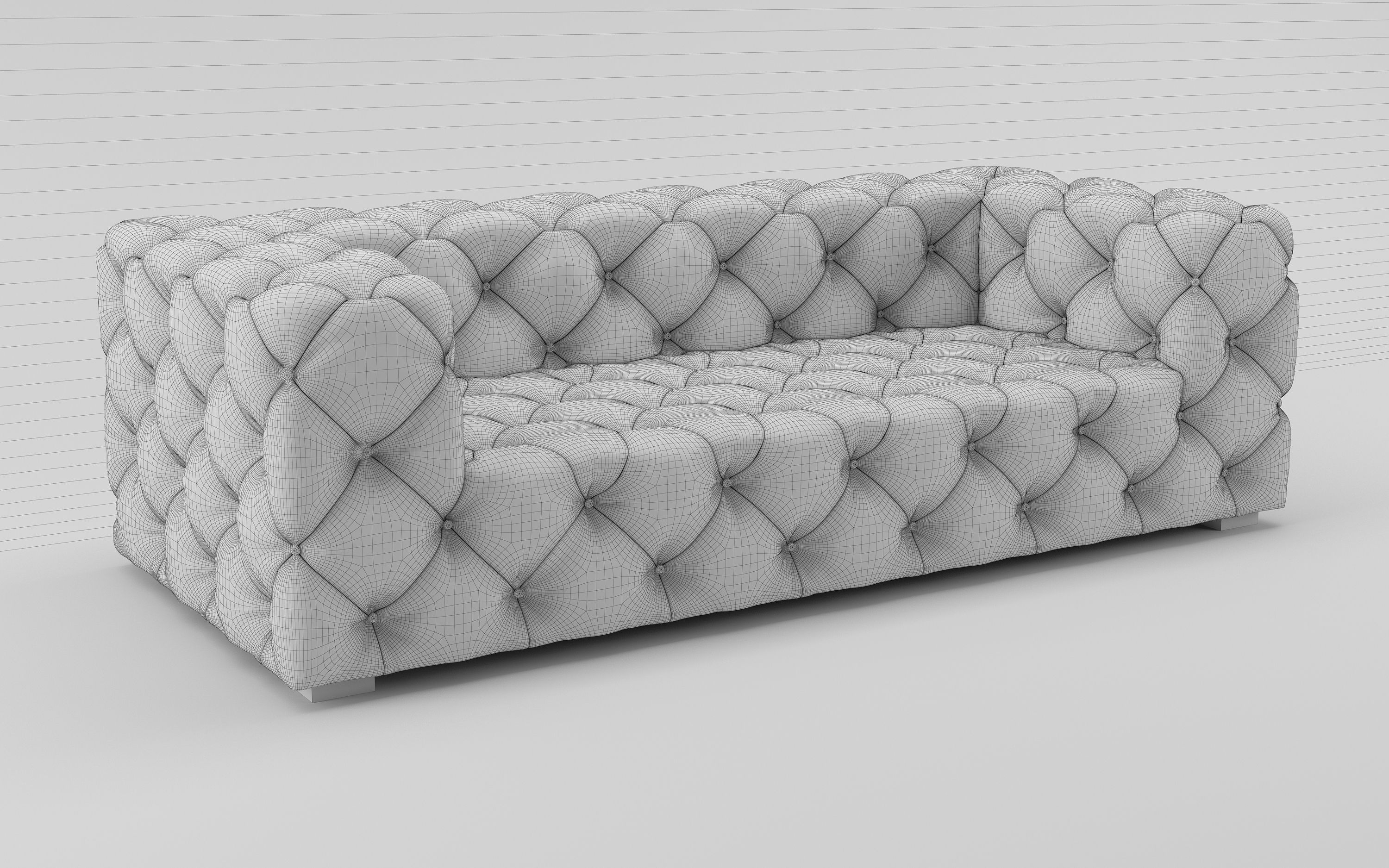 3D model SOHO TUFTED LEATHER SOFA | CGTrader