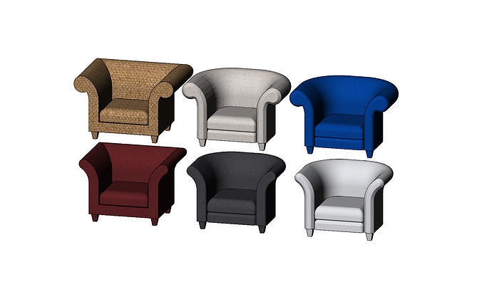 Miniature armchair mockups props N02