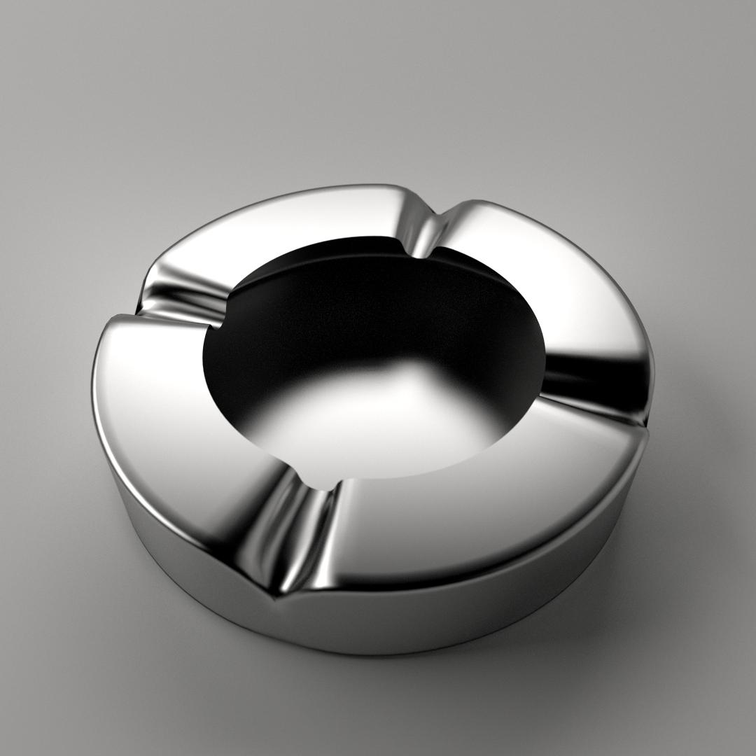 Ashtray Metallic 3D Model .fbx .blend .dae