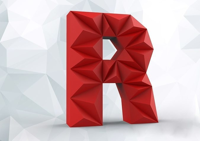 Red modern triangular font letter R. 3D — Stock Photo © djmilic ...   475x676