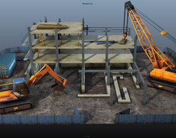 game-ready 3d asset construction pack - crane - digger and props - low poly