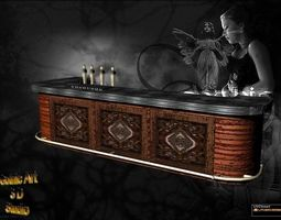 barra de bar 3D asset