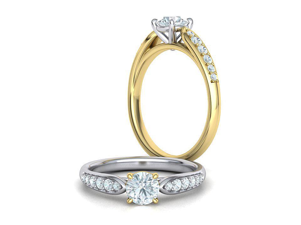 Engagement ring 4 prong design Half Carat stone 3dmodel