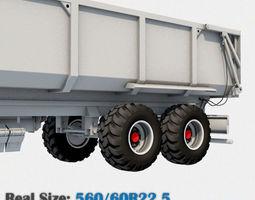 trailer wheel 560 60r22-5 3d model obj 3ds fbx c4d