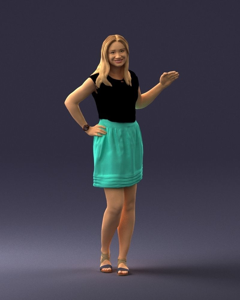 Blonde in the green skirt 0246 3D Print Ready