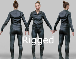 Girl in shiny black outfit Rigged 3D Model