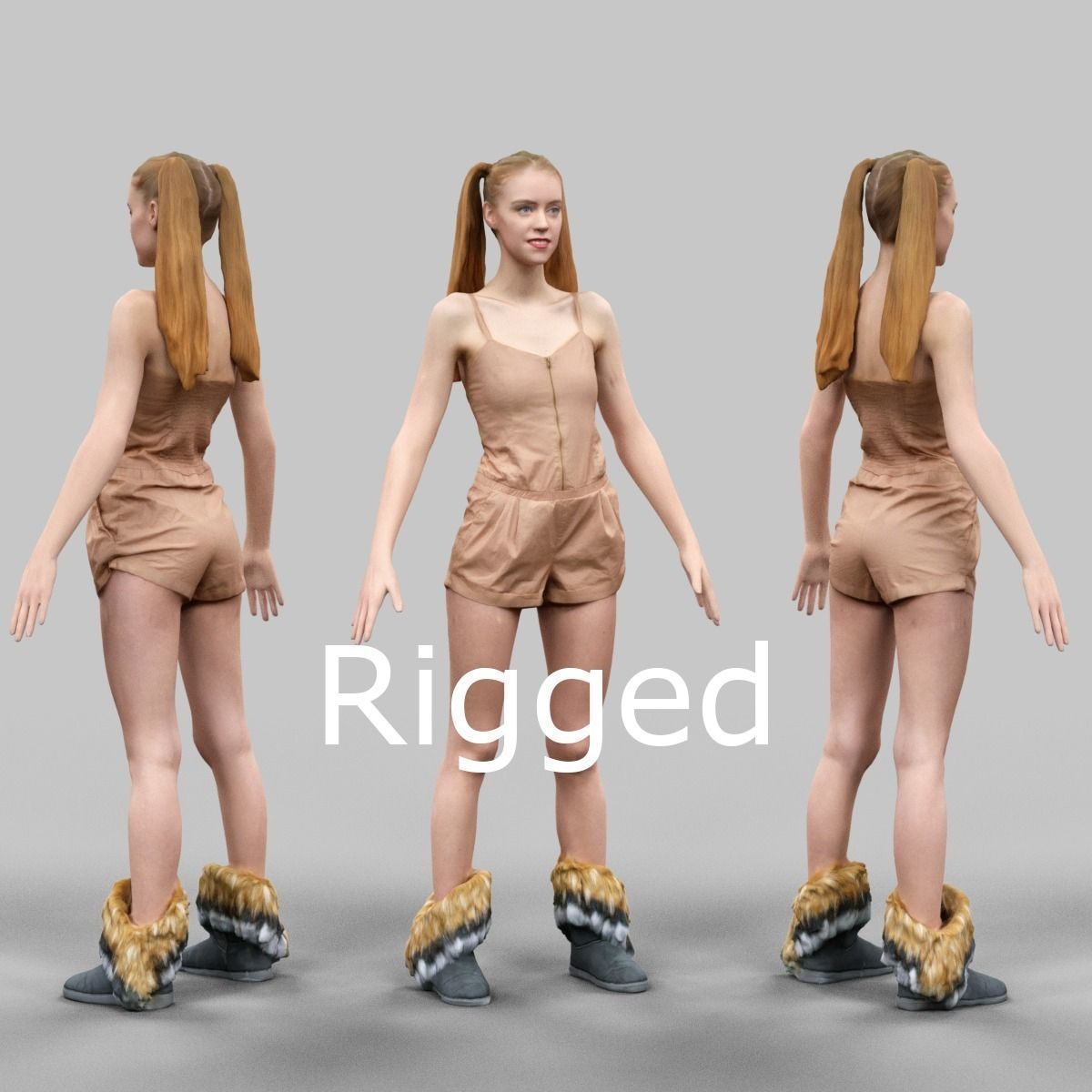 Girl in Beige Jumpsuit and Double Ponytails Rigged