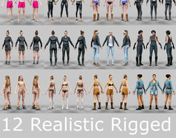 3d model 12 rigged female characters low-poly