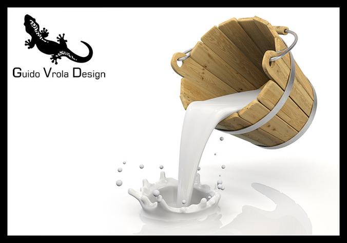 Bucket pouring milk3D model