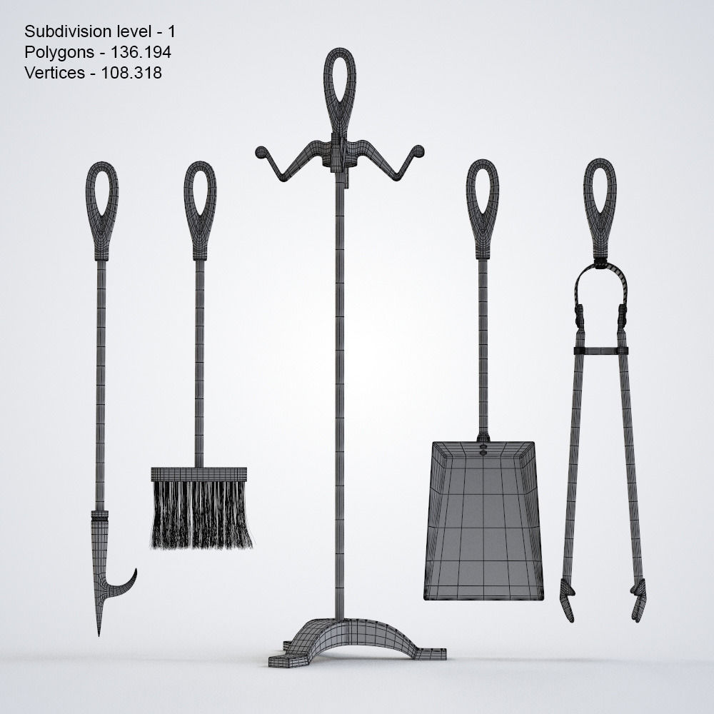 3d fireplace tools cgtrader