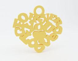 Heart Spell Keychain 3D Model