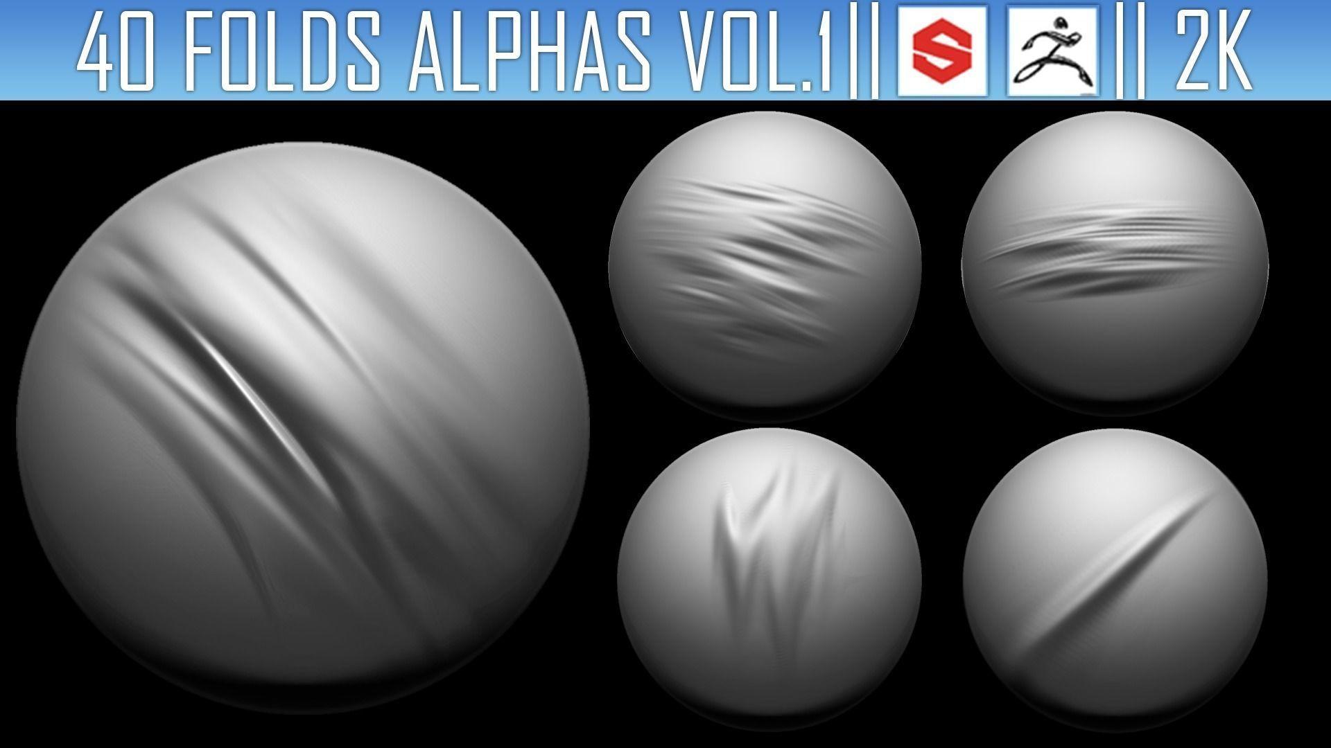 ZBRush Folds Alphas