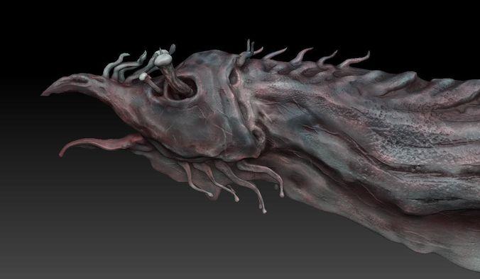 aquatic monster or alien sculpt 3d model obj 3ds fbx blend ztl 1