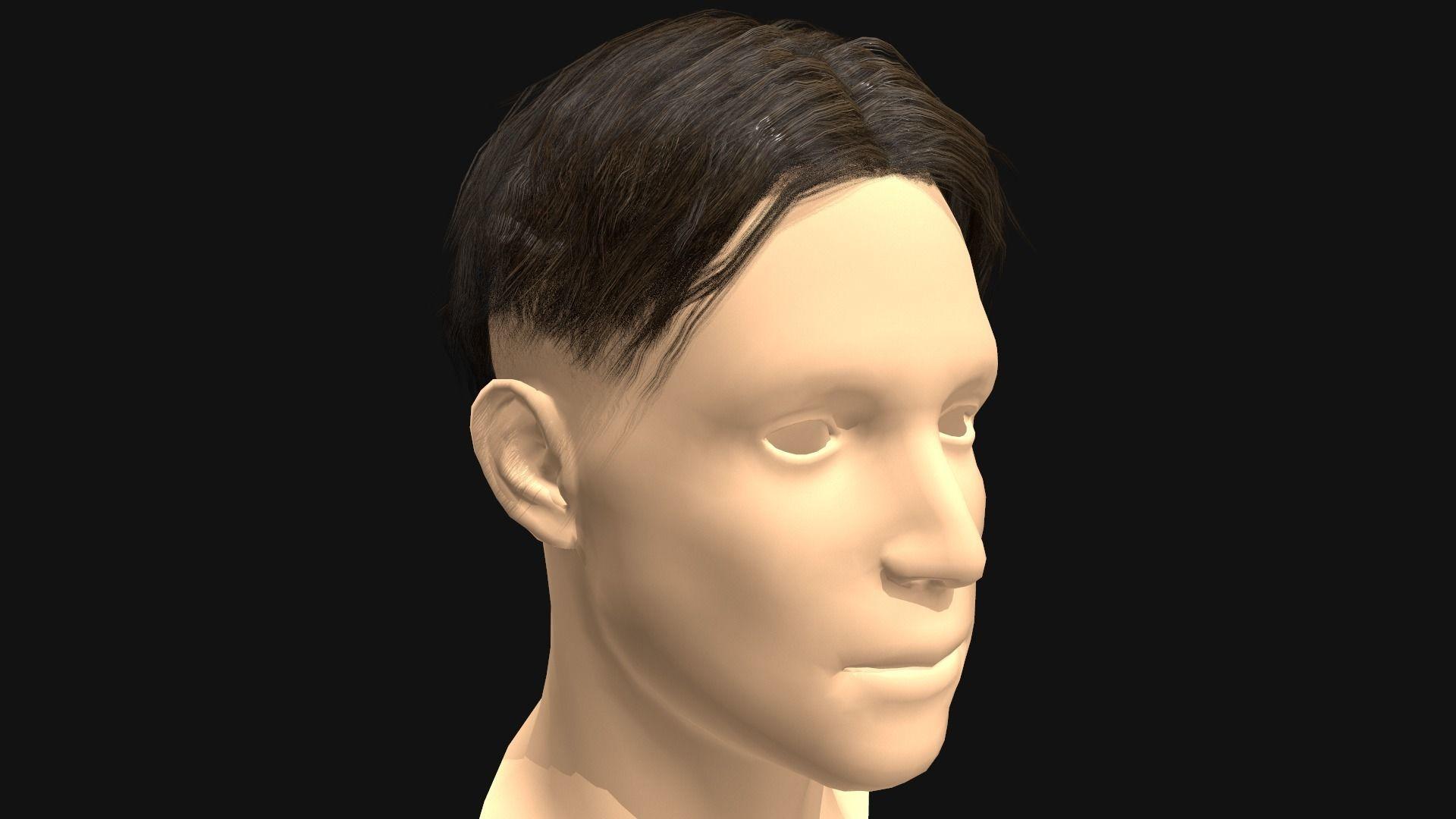3D Hair Male Middle Part Undercut