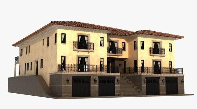 Luxury mediterranean villa 3d cgtrader for Luxury mediterranean villas