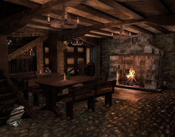 medieval city tavern game-ready PBR 3d asset
