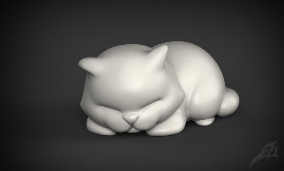 Cute Sleepy Cat for 3D Print STL