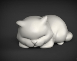Cute Sleepy Cat for 3D Print STL