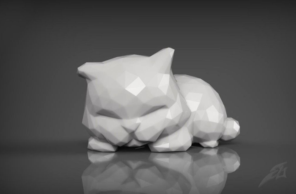 cute sleepy cat for 3d print stl 3d model stl 5