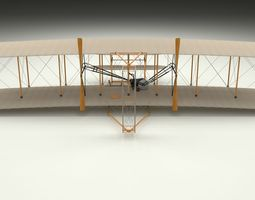 animated wright flyer 3d model