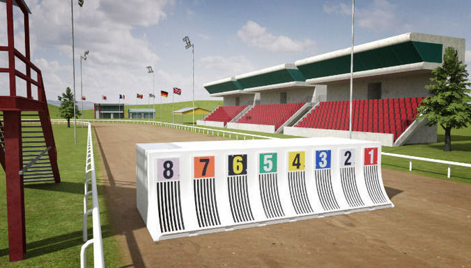 greyhound racecourse pack 3d model low-poly fbx ma mb mat 1