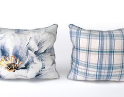3d voyage cushion - peony blue -piped pillow