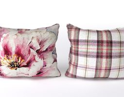 voyage cushion - peony pink -piped pillow 3d