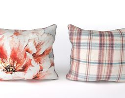 3D Voyage Cushion - Peony Red -Piped Pillow