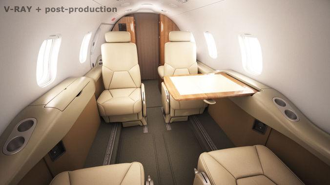 learjet 31 cabin - interior 3d model max obj mtl 3ds fbx c4d lwo lw lws 1